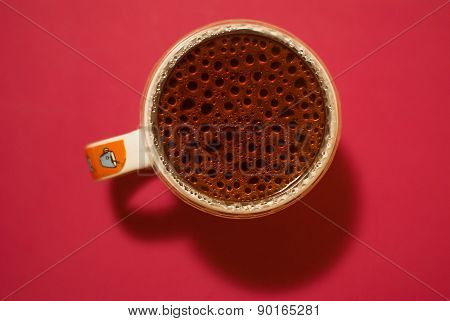 Cup Of Coffee With Water Drops