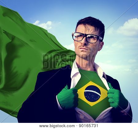 Businessman Superhero Country Brazil Flag Culture Power Concept