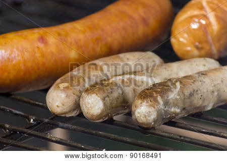 Slow Smoked Vide Types Of Sausages On The Grill