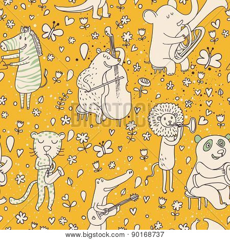 Lovely animal orchestra. Stylish cartoon seamless pattern with leopard, bear, zebra, lion, crocodile and panda playing on musical instruments in vector
