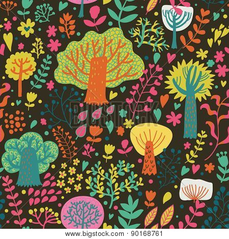 Magic forest in cartoon style in bright summer colors. Seamless pattern can be used for wallpaper, pattern fills, web page background,surface textures. Lovely seamless natural background