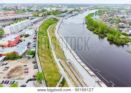 Historical center and pedestrian quay. Tyumen