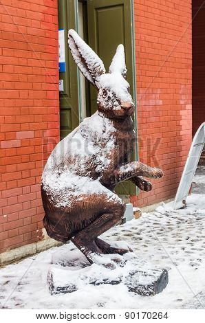 Bronze Hare Statue At Peter And Paul Fortress In Saint-petersbug, Russia