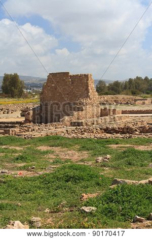 Ancient Ruins Of Walls In Paphos Archaeological Park. Cyprus Spring