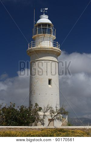 Beautiful White Lighthouse In Paphos, Cyprus Close-up
