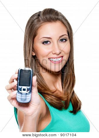 Woman Showing  Mobile Phone