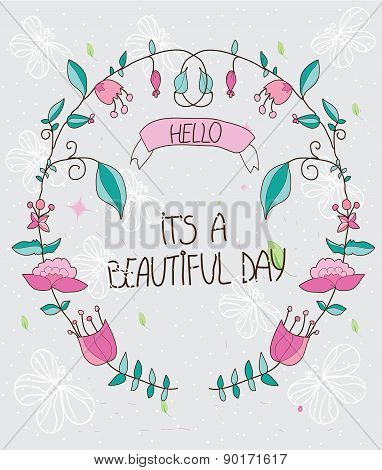 beautiful decorative background with flowers wreath on a gray background