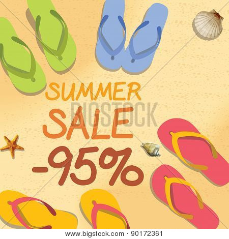 Summer Discount Of 95 Percent On The Sand With Starfish And Colorful Summer Slippers