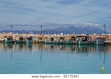 Ksilokastro Marina, Greece with Parnassos Mountain in the background
