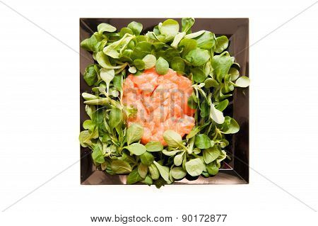 Salmon Tartare With Salad On Square Black Plate Isolated