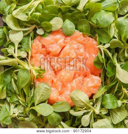 Salmon Tartare With Fresh Raw Valerian Salad Detail