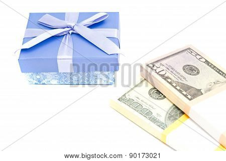 Banknotes And Blue Gift Box On White