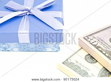 Money And Blue Gift Box