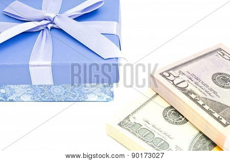 Notes And Blue Gift Box