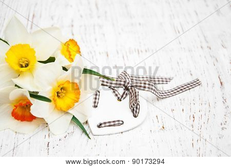 Yellow Daffodils With Heart