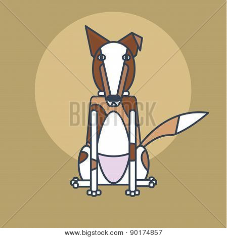 line style simple illustration of  white and brown dog sitting