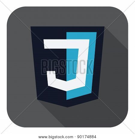 vector illustration of dark blue shield with J letter on the screen, isolated web site development i