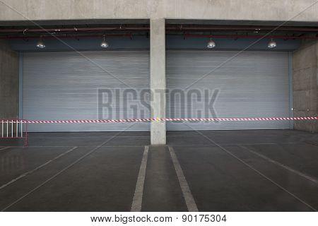 Shutter Door Inside Factory, Night Scene.
