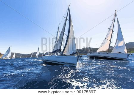 Vector illustration - Sailing in the wind through the waves. Sailing regatta.