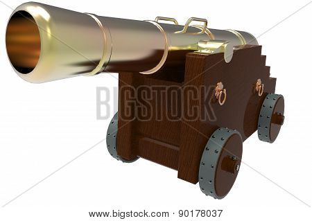 Old Cannon With Wooden Carriage In Front View