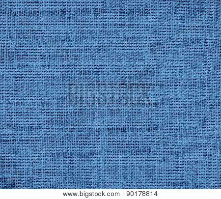 Cyan azure color burlap texture background