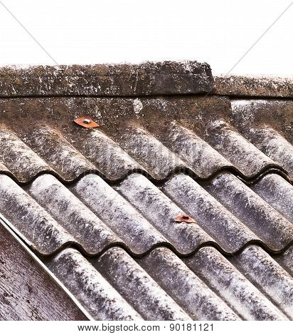 Old Tile Roof On A White Background.