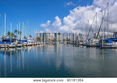 The State of Hawaii Ala Wai Small Boat Harbor.