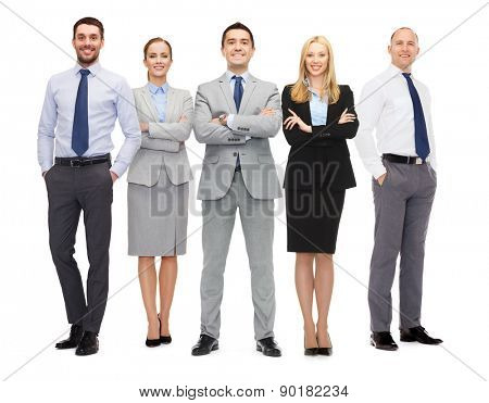 business, people, gesture and office concept - group of smiling businessmen