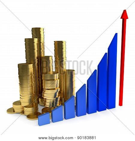 Business Chart and gold coins