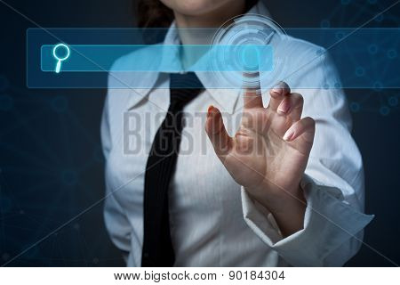 Young Business Woman Pressing A Different Button Collection