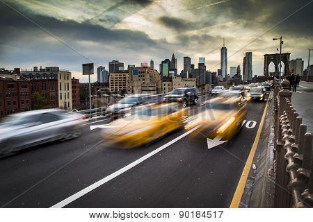 Rush Hour Traffic On The Brooklyn Bridge In New York City