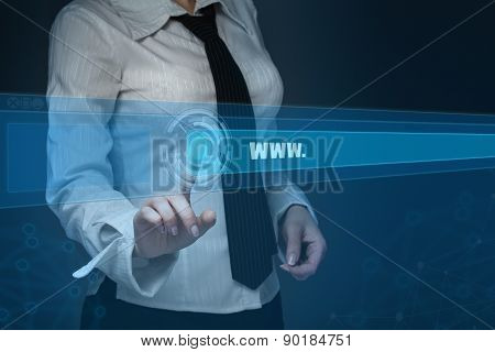 Technology, Searching System And Internet Concept - Businesswoman Hand Pressing Search Button