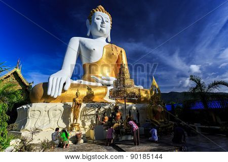 Buddha Statue With Prayers In Wat Phra That Doi Kham