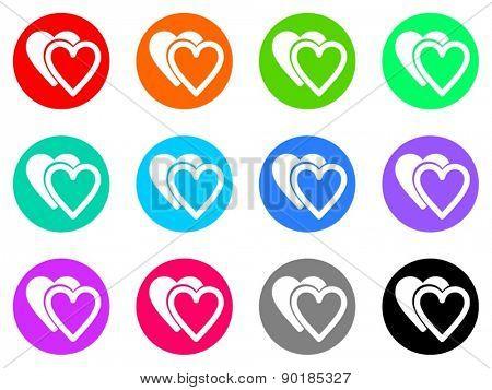 heart vector web icon set