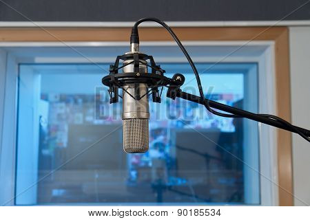 Microphone In Recording Studio Interior