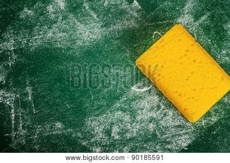 Yellow Sponge And Green Chalkboard