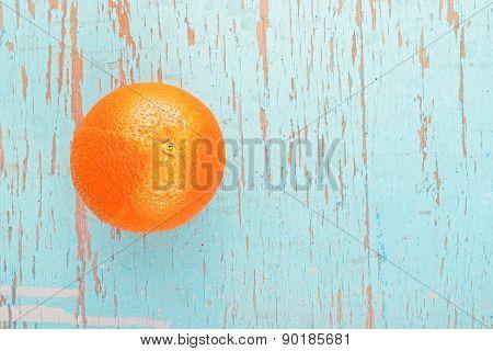 Fresh Ripe Sweet Orange Fruit On Rustic Blue Wood Background