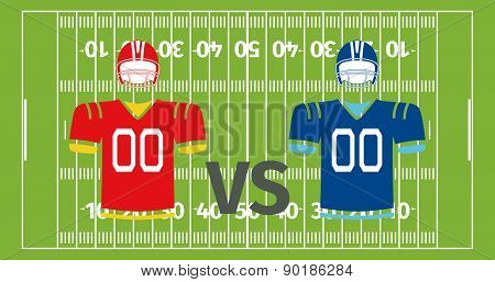 American football play-field and uniform