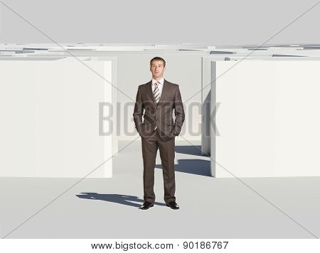 Winner businessman with hands in pockets
