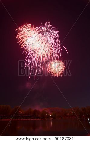 Beautiful Firework In Honor Of The Moscow Victory Day Parade.