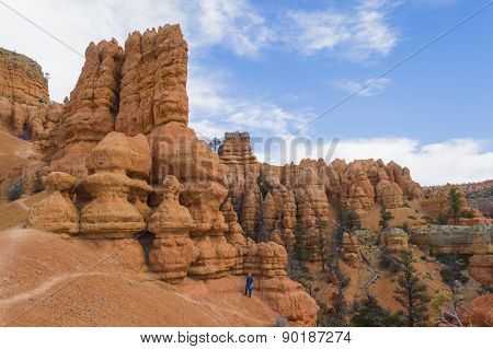 Young Man Hiking In The Colorful Rock Formations Of Red Canyon Utah
