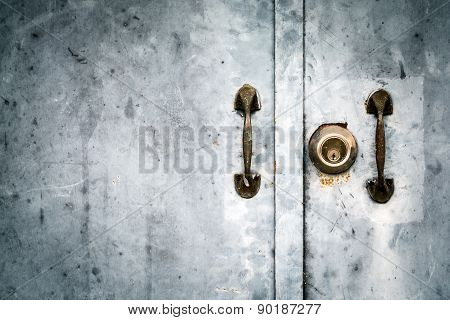 Vintage Image Of Key Hole And Door Handle On Grunge Door