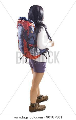 Backpacker With Backpack In Studio