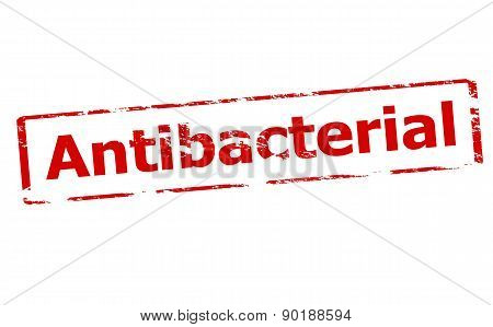 Rubber stamp with word antibacterial inside vector illustration