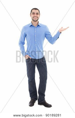 Young Arabic Business Man In Blue Shirt Pointing At Something Isolated On White