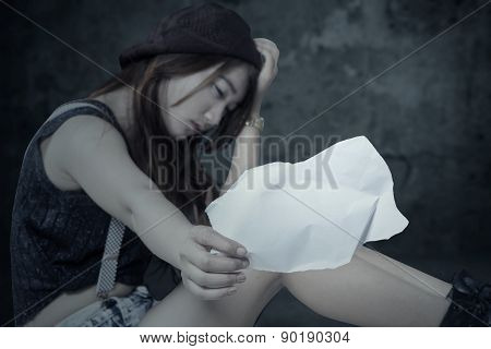 Frustrated Teen Girl With Empty Paper