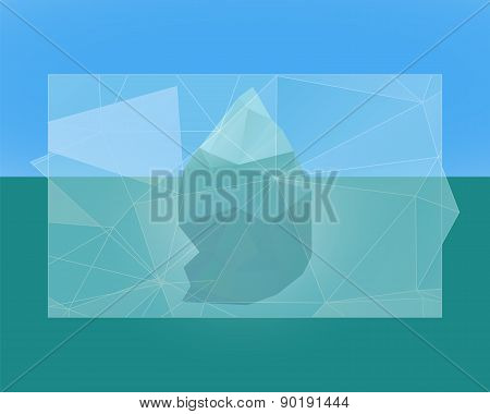 Polygonal iceberg poster, banner and flyer.  Vector - low poly style. Triangle flat design. Winter t