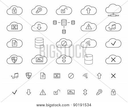 Cloud Storage Icons Set. Outlined. Thin line design for web and mobile app. Cloud technologies. Isol