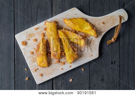 Sweet Potato Fries With Wood Block On Wood Board