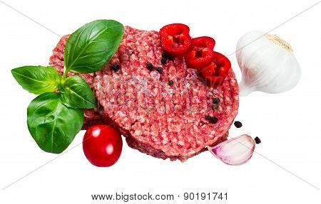 Hand Made From Minced Beef, Pork Burgers Patties With Basil, Garlic, Pepper, Tomato And Sliced Red P